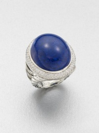 From the Signature Oval Collection. A domed lapis cabochon set in sterling silver accented with brilliant diamonds. LapisDiamonds, .81 tcwSterling silverWidth, about 1Imported