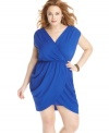 Unleash your inner goddess with Soprano's short sleeve plus size dress, highlighted by a flattering draped design.