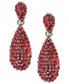 Look wonderful in red. These teardrop earrings from 2028 are crafted from silver-tone mixed metal with siam-colored glass stones adding a sparkling touch. Approximate drop: 1 inch.