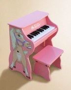 An adorable toddler piano sits on the ground and can easily be raised into an upright as a child grows. For ages 3 and up Horse decoration on one side Makes chime-like piano sounds Songbook included with classic songs Keys spaced to teach proper finger placement Removable color-coordinated strip guides small fingers from chord to chord Hardwood/hardboard 17W X 10¾H X 10½D Imported