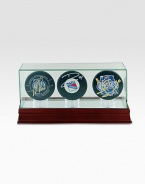 Perfect for the tried-and-true Rangers fan! This three puck set includes All-Star Goalie Henrik Lundqvist, 2012 All-Star Game MVP Marian Gaborik, and Team Captain Ryan Callahan and comes displayed in a sleek glass and wood case.Steiner Sports Certificate of Authenticity includedHand signed by the players listedWood and glass caseKeep out of sunlight16W X 10H X 11DMade in USA