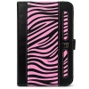 SumacLife Black Pink Zebra Design Executive Book-Style Leather Portfolio Jacket Case Cover for Barnes and Noble Nook Tablet and Nook Color e-Reader