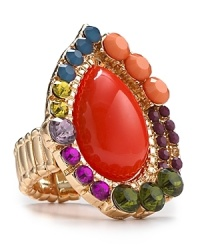 Rock a bold bauble with this coolly clustered ring from Aqua, accented by a rim of multi colored stones. Do hue dare?