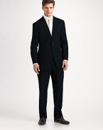 The essential black suit, timeless and elegant in 100% wool crepe. Made in Italy. Dry clean.JACKETTwo button silhouette with notch lapel Chest welt pocket Besom pockets Button cuffs Side vents Fully lined About 30 from shoulder to hemPANTSFlat front, belt loops Zip fly Lined to knee Quarter top pockets Side pockets Button back welt pockets Unfinished hemPlease note: Alterations are available at all Saks Fifth Avenue stores.