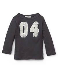 He'll love the vintage appeal of this cute long sleeve shirt in soft cotton slub, with distressed lettering detail.