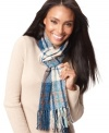 Toss on a classic winter neutral that goes with nearly everything. Traditional plaid scarf in chenille, by Charter Club.