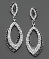Opulent ovals of round-cut black diamonds (1/3 ct. t.w.) and white diamonds (3/8 ct. t.w.) exude elegance on these sterling silver earrings. Approximate drop: 1-1/2 inches.