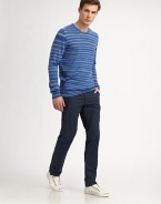 Crafted from lightweight, cotton jersey, this traditional crewneck exudes casual elegance with a defined striped pattern.CrewneckRibbed knit collar, cuffs and hemCottonHand washImported