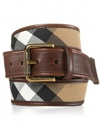 Check printed cotton is trimmed in luxe leather on this timeless belt from Burberry.
