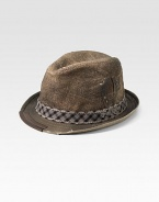 A natural jute trilby hat with check trim and an embroidered logo. Check trimJuteHand washImported