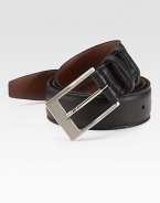 EXCLUSIVELY OURS. An essential piece for any man's wardrobe in soft, Italian calfskin leather. Nickel-plated buckle About 1¼ wide Made in USA