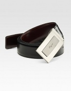 A handsome sporty style in calfskin leather with a signature plaque buckle. About 1¼ wide Made in Italy