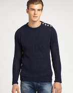A sumptuously soft cotton blend elevates the comfort and style level of this casual, pullover sweater accented with button detail at the collar.CrewneckRibbed knit cuffs and hem70% cotton/18% acrylic/12% nylonHand washMade in Italy