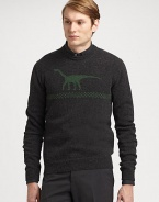 Classic crewneck sweater is elegantly shaped in a smooth wool blend and accented with a contrasting t-rex print.Crewneck50% camel hair/50% woolDry cleanMade in Italy