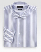 Lightly textured stripes are woven to handsome effect in classic-fit cotton. Buttonfront Moderate spread collar Cotton Dry clean Imported