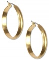 Amp up your jewelry box with these hoops from Jones New York. Finished with a wide design and a click top. Crafted from worn gold tone mixed metal. Approximate drop: 1-1/4 inches.