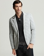 Shades of Grey by Micah Cohen Knit Stripe 2-Button Blazer