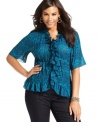 Frill up your casual wear with NY Collection's short sleeve plus size blouse, accented by ruffled trim.