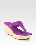 Vibrant, velvety suede in a thong silhouette with a soft suede footbed and braided hemp and straw wedge. Straw and hemp wedge, 3 (75mm)Straw and hemp platform, 1 (25mm)Compares to a 2 heel (50mm)Suede upperSuede liningRubber solePadded insoleImported