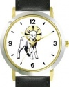 The Lamb with Halo Christian Theme - WATCHBUDDY® DELUXE TWO-TONE THEME WATCH - Arabic Numbers - Black Leather Strap-Women's Size-Small