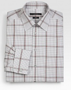 A fitted, tailored silhouette modernizes this check patterned, cotton dress shirt.Button-frontPoint collarCottonMachine washMade in Italy