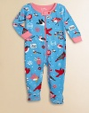 Watch the birdies tweet and chirp on this charming print of soft cotton knit to keep your baby comfy.Ribbed crewneckSnap neck tabFront and leg zipperLong sleeves with contrast ribbed cuffsFeet with non-slip dots on solesCottonMachine washImported