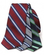 A must-have silk tie that touts diagonal multi-tone stripes.