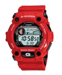 Engineered for your most rugged activities, this G-Shock is prepared to go everywhere you go. Red resin strap and round case. Shock-resistant, digital display dial features auto EL backlight with afterglow, flash alert, tide graph, moon data, world time, city code display, four multifunction alarms, hourly time signal, countdown timer, stopwatch, auto calendar and 12/24-hour formats. Quartz movement. Water resistant to 200 meters. One-year limited warranty.