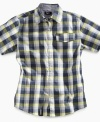Dare to wear plaid. Crank his casual style up a notch with this button-down shirt from LRG.