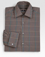 Cotton dress shirt in a fitted silhouette, modernized by this iconic check print design.ButtonfrontCottonDry cleanMade in Italy