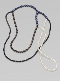 From the Night Blue Collection. This versatile piece features multi-colored strands of pearlized glass beads in an artfully asymmetrical style. Length, about 56½ Slip-on style Imported