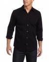 Calvin Klein Sportswear Men's Solid Stretch Free Fit Woven Shirt, Black, Small