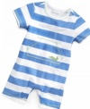 On a scale of 1 to 10...He'll get high ratings in this darling striped sunsuit with an alligator detail from First Impressions.