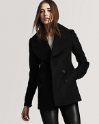 Burberry London's double-breasted coat exudes an everyday, urbane feel with a short length and oversized lapel.