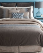 Feel the vibration. Textures unite in a symphony of style from Bryan Keith. The Jackson comforter set boasts embroidery detail, zigzag patterns and modern colorblocking to instantly give your room a sophisticated, up-to-date appeal.