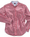 Stripes give him instant style with this shirt from Tommy Hilfiger.