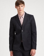 Impeccably tailored in rich, smooth cotton, this two-button suit jacket is designed the man of style who looks, feels and dresses like a power-player.Button-frontChest welt, waist flap pocketsRear ventAbout 29 from shoulder to hemCottonDry cleanImported