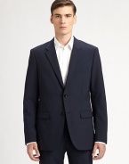 A modern-fitting classic, handsomely tailored with clean lines and a two-button front. Notch lapel Single back vent About 29½ from shoulder to hem 96% Italian wool/4% Lycra; dry clean Imported