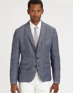 Effortlessly stylish defines this lightweight, modern-fitting structured sportcoat.ButtonfrontChest welt, waist flap pocketsSide ventsFully linedAbout 28 from shoulder to hemLinenDry cleanImported