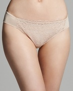 Lace lends feminine appeal to these bikini briefs from Wacoal.