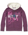 She can wrap up in cuddly style in this Roxy logo hoodie with Sherpa lining to make it extra cozy.