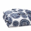 India's biggest city inspires this vibrant duvet from John Robshaw. Small and large medallions spin around abstracted, stylized poppies in indigo and phthalo blue to represent the people, cars and trucks on the streets of Mumbai swerving around each other with nearly choreographed grace.