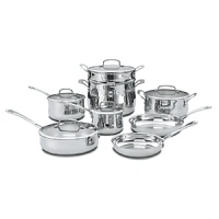 With aluminum-encapsulated bases for even heat distribution, a unique belly-shaped design, stay-cool stick handles contoured to fit your hand and tempered glass covers that seal in moisture, this Cuisinart 13-piece cookware set helps you get professional results at home. Qualifies for Rebate