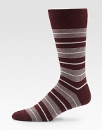 EXCLUSIVELY OURS. Spruce up your suiting attire with these sharply striped, cotton blend socks for an instant dapper look.Mid-calf height80% cotton/20% nylonMachine washMade in Italy