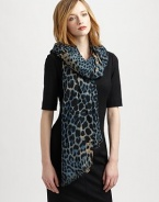 Fashion goes wild on this elegant, edgy wool and cashmere-blend scarf with an eye-catching leopard print.70% wool/30% cashmereAbout 55 X 70Dry cleanMade in Italy