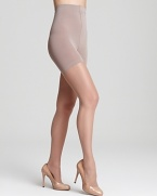 Soft, shimmering hosiery with toning panels at tummy, waist and thighs. Style #0B109