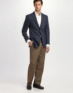 EXCLUSIVELY OURS. We've elevated the classic trouser to unseen heights with a smooth, remarkably lightweight wool silhouette that features an extended tab at the waist and sharp creases at the legs. Flat front Side slash, back welt pockets Unfinished hems Wool Dry clean Imported Additional Information Men's Pants, Shorts & Swimwear - Waist Sizing (European Equivalents)