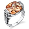 Bold Elegance: Designer Inspired Sterling Silver Rhodium Finish Cable Design Ring with Champagne Cubic Zirconia
