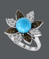 A springtime statement. Carlo Viani's fabulous flower ring highlights a round-cut turquoise center (3-1/3 mm) surrounded by round-cut white sapphire (1/2 ct. t.w.) and smokey quartz (3/8 ct. t.w.) covered petals. Crafted in 14k white gold.