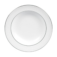A subtle yet classic collection for formal dining in white fine bone china with platinum-toned accents.